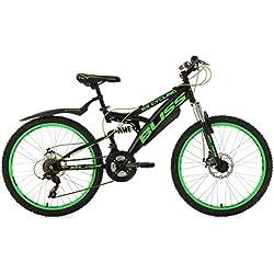 """KS Cycling Bliss VTT Tout Suspendu Noir/Vert 24"""""""