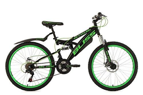 KS Cycling Kinder Jugendfahrrad Mountainbike Fully 24\'\' Bliss schwarz-grün RH 38 cm Fahrrad, 24