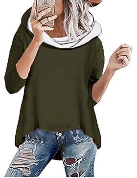 ShallGood Mujer Suelto Sudadera con Capucha Manga Larga Pullover Otoño Invierno Irregular Dobladillo Cuello Alto...