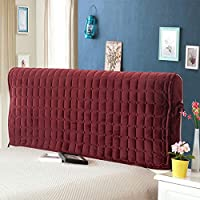 Fabric Bed Headboard Cover Dustproof Protector Slipcover Thicken Anti-Collision All-Inclusive Backrest Cushion Daybed,Winered-120 * 116cm