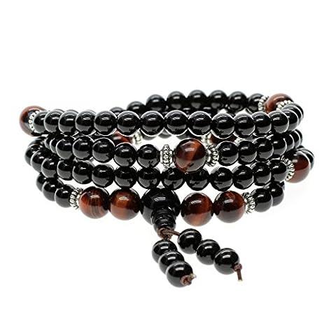 Buddhist Prayer Bracelet/Necklace - Semi-Precious 6mm Onyx Beads & 8mm Red Tiger Eye Bead - Stretch Bracelet for Men & Women, Statement Necklace