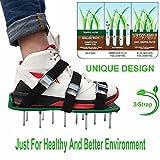 Zapatos Jardín De Césped Con 3 Correas Ajustables, Zapatos De Clavo Aireador De Césped Con 5Cm Clavos, 1 Par, Verde