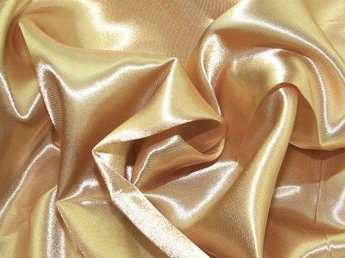 BIG DO CO Anchura: 60cm-Fabrics Tela de satén Fluido al Metro, Color Dorado Envejecido