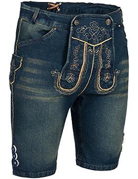 PAULGOS Herren Trachten Jeans in Optik Trachten Lederhose Kurz in 3 Farben Gr. 44-60
