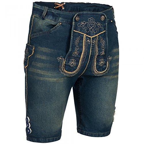 PAULGOS Herren Trachten Jeans in Optik Trachten Lederhose Kurz in 3 Farben Gr. 44-60, Farbe:Blau, Größe Lederhose:52