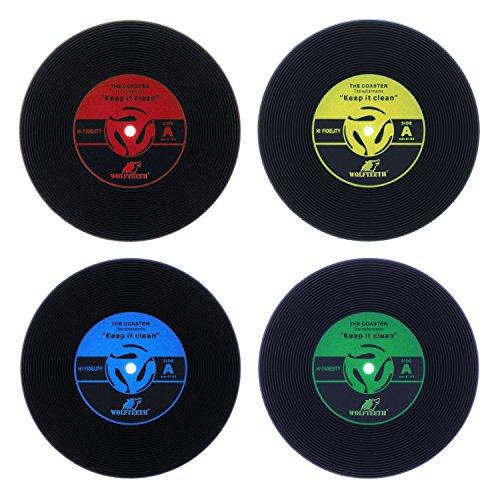 WOLFTEETH 4 x Vinyl Record Untersetzer Bierdeckel Retro Cup Getränk Platzierungsplatz 5006 MEHRWEG