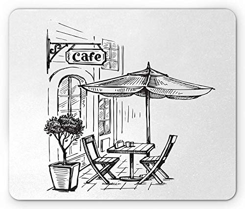 Coffee Mouse Pad, European Scenery with A Street Coffee in Old Town Bistro Restaurant Sketch Art, Standard Size Rectangle Non-Slip Rubber Mousepad, Seal Brown White