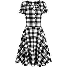 Zeagoo Damen Sommerkleid Karomuster Kurzarm Rockabilly Vintage Retro 50er  Jahr Kleider 89ca1128ad