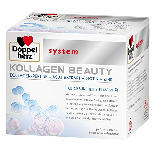 Doppelherz Kollagen Beauty 30 Trinkfläschchen | Kollagen-Peptide + Açai-Extrakt + Biotin + Zink | Antifalten | Haut- Gesundheit (Kollagen-extrakt)