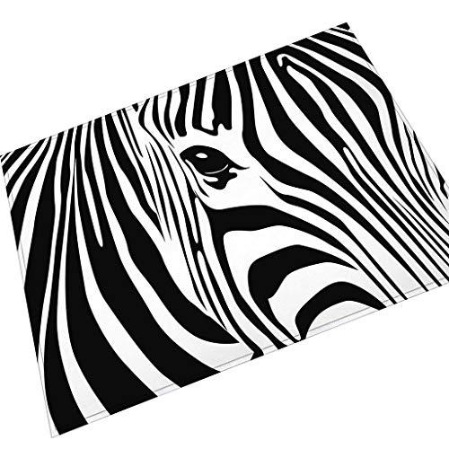 Eureya Fußmatte Zebra Fußmatte Baby Samt Willkommen Matte Wohnzimmer Bad Küche Teppiche Home Decor, Black and White Stripes, 60 x 90 cm -
