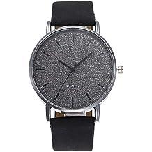 Relojes Casuales de Cuarzo,MISSWongg Moda de Cuero Reloj Casual Diseño de dial Simple Bisel