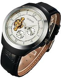 SEWOR reloj para hombre vestido de Tourbillon mecánico automático de color negro y plateado funda de piel Para Muñeca relojes esfera blanca