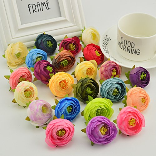 JIALE3536 Flores Artificiales 10Pcs Seda Rosa De Té Bud Estambres Para Boda Pions Inicio Accesorios Decoración Pompon Diy Scrapbooking Flores Artificiales Barata,Multi