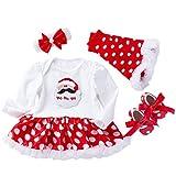 Baby Weihnachtsmann Hauchrock prinzessinkleid vierteiliger Anzug YunYoud weihnachtskleider mode partykleid ballonrock jeansrock festtagskleid lang kleidchen kinderbekleidung