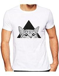Camiseta Hombre, VENMO Hombre Camisetas Manga Corta Patrón de Gato Impresión Camisa Blusa Tee