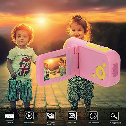 Gaddrt Digitalkamera Video-Camcorder HD 1080P Digitale Handkamera mit 4-fachem Digitalzoom (Rosa)