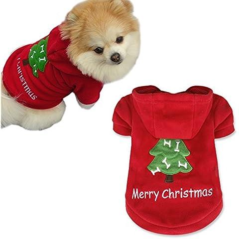 iEFiEL Disfraces Chaquetas para Mascota Cachorro Ropa Sudadera con Capucha de Fiesta Navidad para Perro
