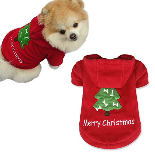 iEFiEL Disfraces Chaquetas para Mascota Cachorro Ropa Sudadera con Capucha de Fiesta Navidad para Perro Gato Rojo