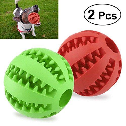 UEETEK 2 Stück Haustier Ball Spielzeug,7.1CM Durchmesser Ungiftig Bissfest Hund Kauen Ball,Hund Essen behandeln Feeder für Haustiere Hunde Spielen Traning Zähne Reinigung(Rot + Grün)