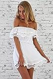 YELINGYUE Frauen Lace Weiss U-Boot-Ausschnitt Slim Strand Sommer Kleid, Weiß, M