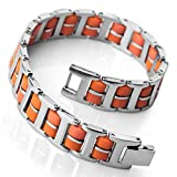 MunkiMix Edelstahl Gummi Kautschuk Armband Link Handgelenk Silber Ton Orange Rechteckig Herren