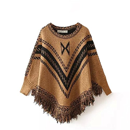 Womens Retro National Wind Plus Size lâches Knit Pulls Pull à franges châle Kaki