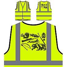 Waldtiere Jagdwaffen Personalisierte High Visibility Gelbe Sicherheitsjacke Weste g463v