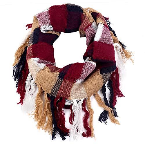 Bufanda de cachemira con estampado de cuadros cálidos para mujer, bufanda de otoño e invierno - Rojo...