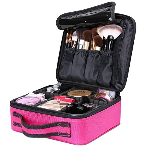 Luxspire Makeup Kosmetikkoffer, Professionelle Make Up Etui Kosmetische Box Tragbare Reise Künstler Aufbewahrungstasche Toiletry Organizer mit einstellbaren Teiler, Roserot
