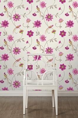 Eden Floral Print Luxury Wallpaper Natural Bird Flower Leaf