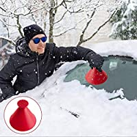 Windshield Ice Scraper, 2 in 1 Multifunctional A Round Ice Scraper Cone-Shaped Car Windshield Snow Scraper Window Cleaning Tool Magic Snow Remover