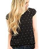 Yesmile Camiseta Casual para Mujer de Moda con Estampado de Lunares Blusa Sin Mangas con Cuello en V Tops Sin Mangas (Negro, XL)