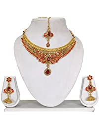 Vipin Store Golden & Red Color Stone & Kundan Gold Plated Jewelery Set
