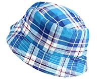 Kids Boys Cotton Sun Hat Bucket COLOURFUL RED BLUE GREEN CHECKED Age 3 4 5 6 (AGE 3 to 6, BLUE)