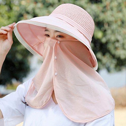 GAOQIANGFENG Abdeckung Gesicht, Hals Frau Sommer reiten Elektroauto hat alle Visor-match Sun cap kann entlang der Flut gefaltet werden, Größe Verstellbar, B23 - Rosa