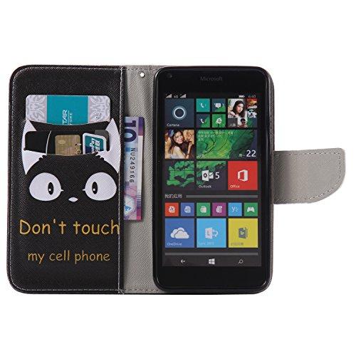 Feeltech Microsoft Lumia N640 Hülle [Berühren Sie Stift] Elegant PU Leder Tasche Magnetverschluss Ultra Schlanke hülle Gemalte Colour Muster Design Mit Back Cover Etui Skin Shell Purse hülle Standfunk Karikatur Katze