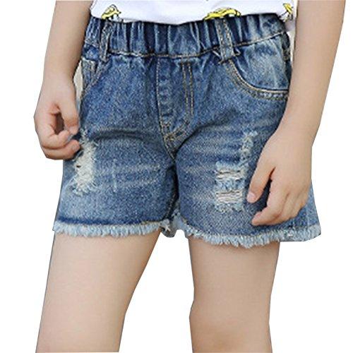 Pantaloni in denim da ragazze pantaloncini shorts in denim jeans corta cowboy shorts blu 160