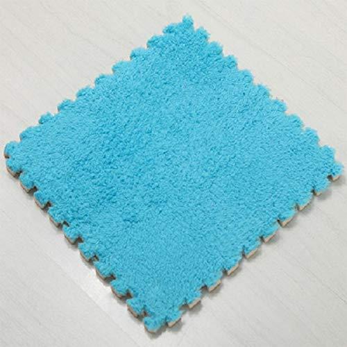 Verdicken Sie Schlafzimmer Mat, Kids Carpet Foam Puzzle Mat Shaggy Velvet Floor Mat für Kinder Blau (Shaggy Kostüm Hose)