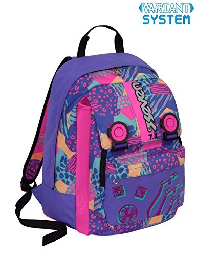 Zaino scuola seven - swag girl - blu rosa - estensibile - variant system - 32 lt - elementari e medie inserti rifrangenti