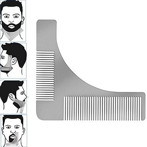 Yezelend Bartkamm & Bart Schablone Edelstahl Bart Styling und Gestaltung Vorlage Kamm Werkzeug für perfekt Bartform Rasur der Bartlinie, Symetrischer (Ausschnitte Vorlage)