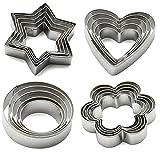 Kaishan- Tagliabiscotti in acciaio inossidabile (forme: stella, cuore, fiore, cerchio), set di 20formine, Acciaio inossidabile, Silver, 4 SHAPES …