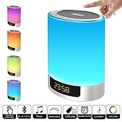 Idea Regalo - Luce notturna Bluetooth speaker, Mjduo sveglia con controllo touch LED cambia colore della lampada da comodino wireless speaker USB AUX MP3Music player Best gift for Kids, party, camera da letto, esterno