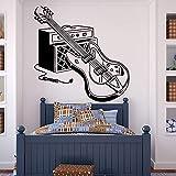 BailongXiao Guitare électrique Stickers muraux pour garçons Chambre Rock Musique Pop décoration Vinyle Stickers muraux Chambre Grand Stickers muraux Amovible 75x75 cm