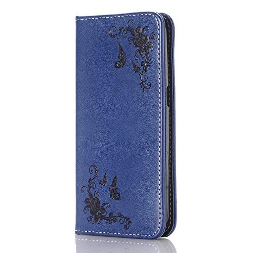 JEPER Samsung Galaxy S6 Edge Leder Case, Stand Hülle Etui with Karte Halterung PU Leder Wallet Klapphülle Magnetverschluss Flip Book Case TPU Cover Bumper Tasche (Samsung Galaxy S6 Edge, dark-blue)