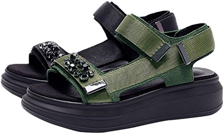 Women's sandals Zapatillas de Tacón Alto para Mujer, con Cabeza Redonda, con Hebilla de Estrás con Puntera Abierta... -
