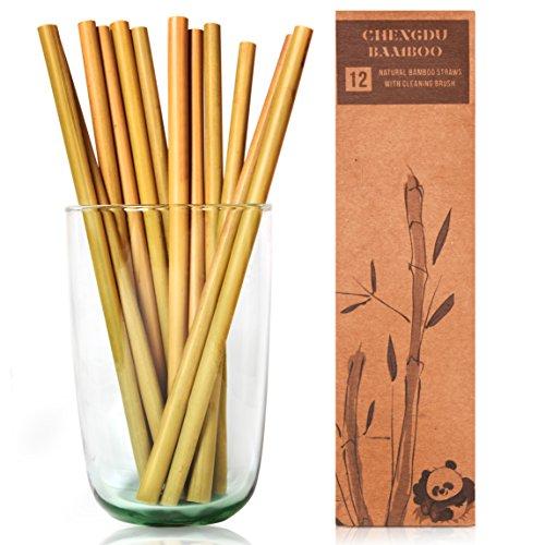 Trinkhalme aus Bambus - 20cm lange Strohhalme von Chengdu Bambus, die biologisch abbaubar + großartig für die Umwelt sind!Jedes Set wird in einer stilvollen Box/ Reinigungsbürste ()