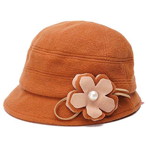 FQG*Mme Bonnet hiver bonnet de laine chapeaux fleurs marée bassin chaud , les kakis Marron Orange