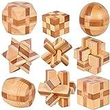 Holzsammlung 9 Stück 3D Puzzle Holz Gehirnjogging Puzzles Geschicklichkeitsspiel Denksportaufgaben Geschenk Set #23