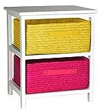Artra Kommode Beistelltisch Nachttisch Holz weiß lackiert 2S mit zwei Rattan Körben für Kinderzimmer Bad Flur Büro und Babyzimmer pink gelb, 40x30x48h