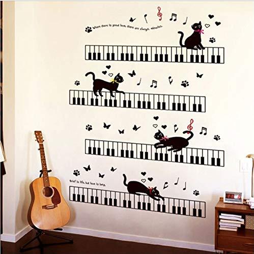 60X90cm Die Katze Auf Dem Klavier Musik Wandaufkleber Für Kinderzimmer Schlafzimmer Kunst Hintergrund Sockelleiste PVC Sockelleiste Wanddekor